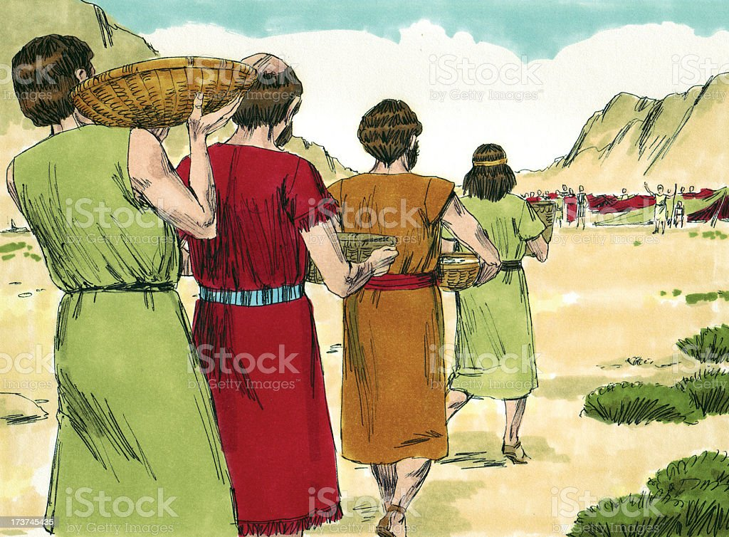 Moses--Israelites Bring in Manna stock photo