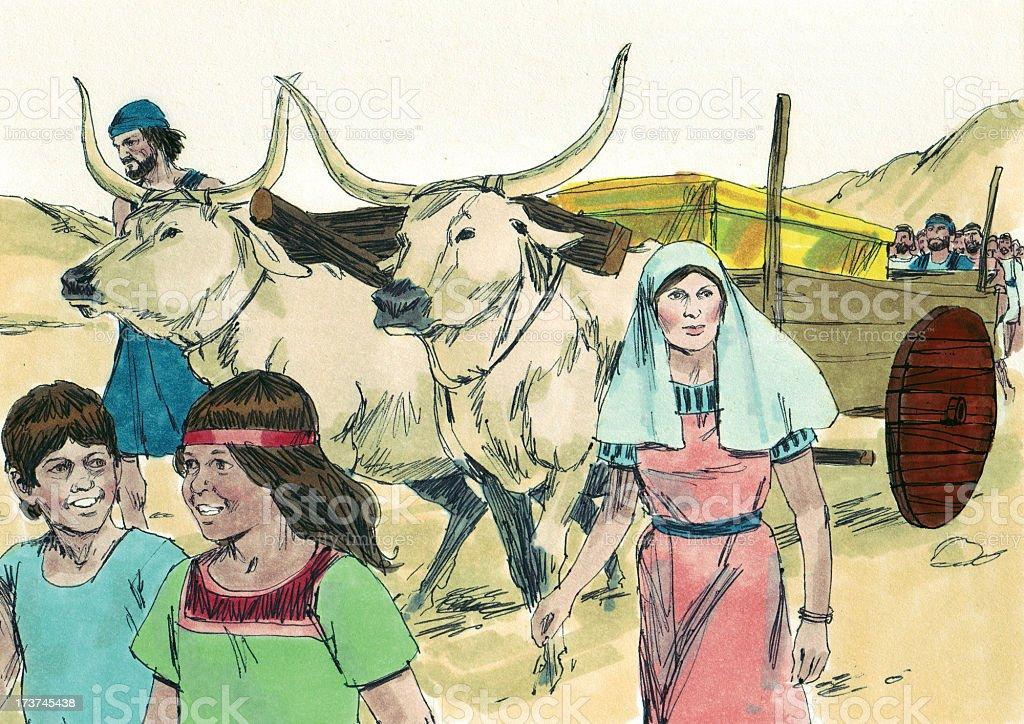Moses--Israelites Going Toward Canaan stock photo