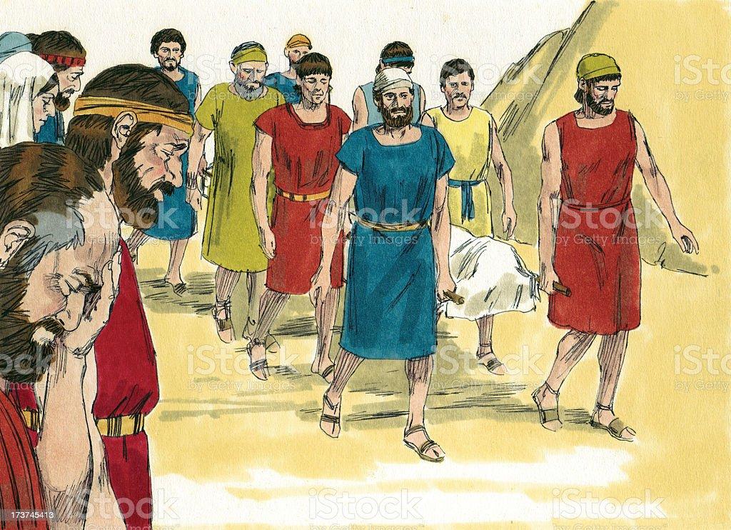 Moses--Israelites Grieve stock photo