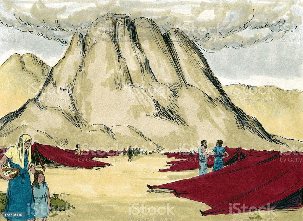 Moses--Israelites in Sinai Wilderness stock photo
