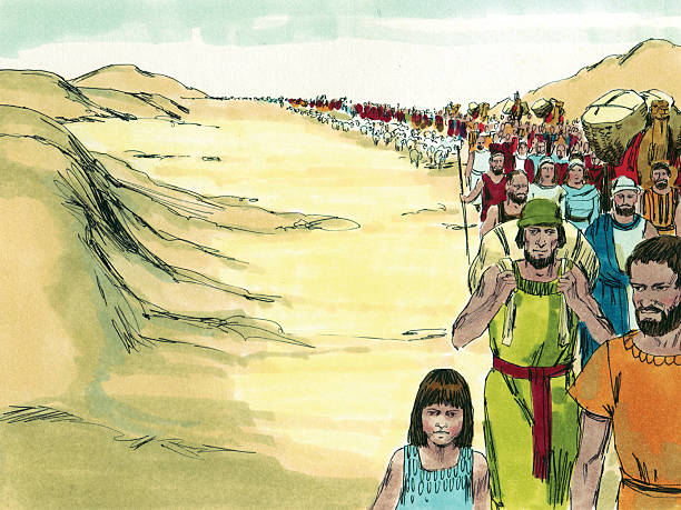 Moses--Israelites Leave for Promised Land stock photo