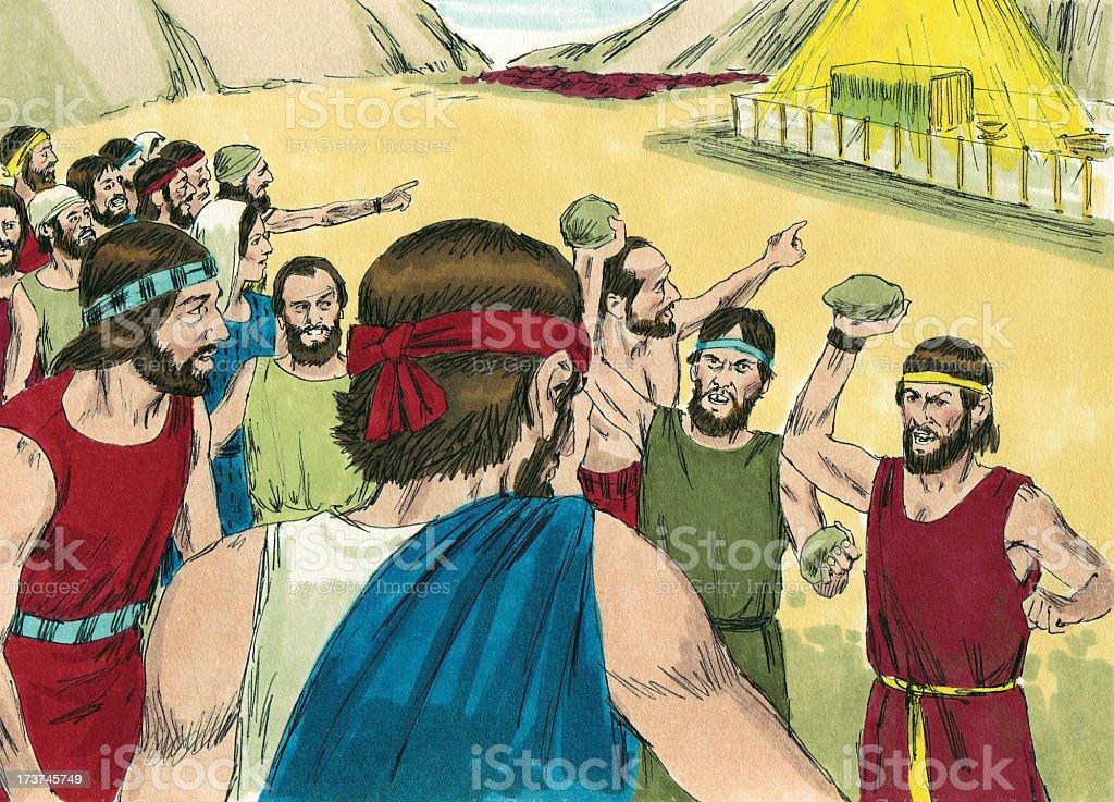 Moses--Israelites Threaten Violence stock photo