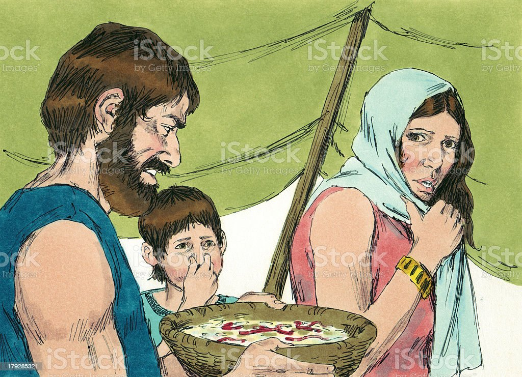 Moses--Israelites with Spoiled Manna stock photo