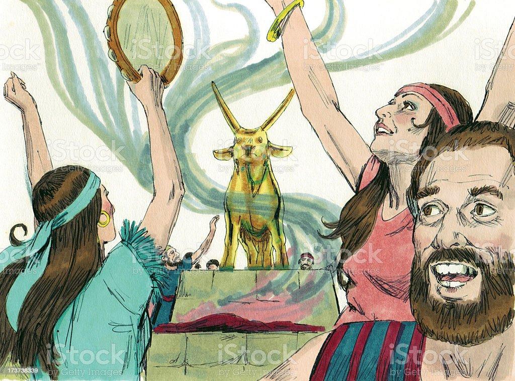 Moses--Israelites Worship Ido stock photo
