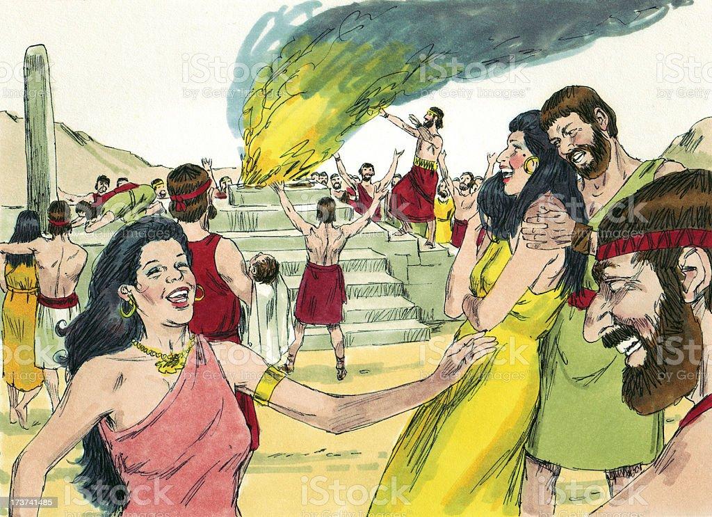 Moses--Israelites Worshiping Idols stock photo