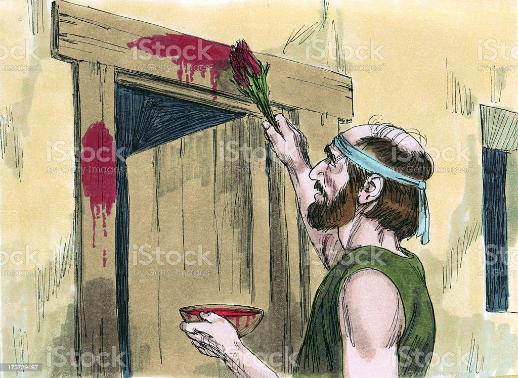 Moses--Passover Blood on Doorposts stock photo