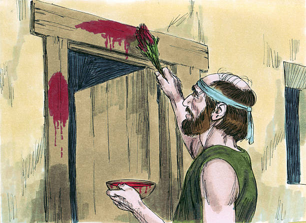 Moses--Passover Blood on Doorposts stock photo