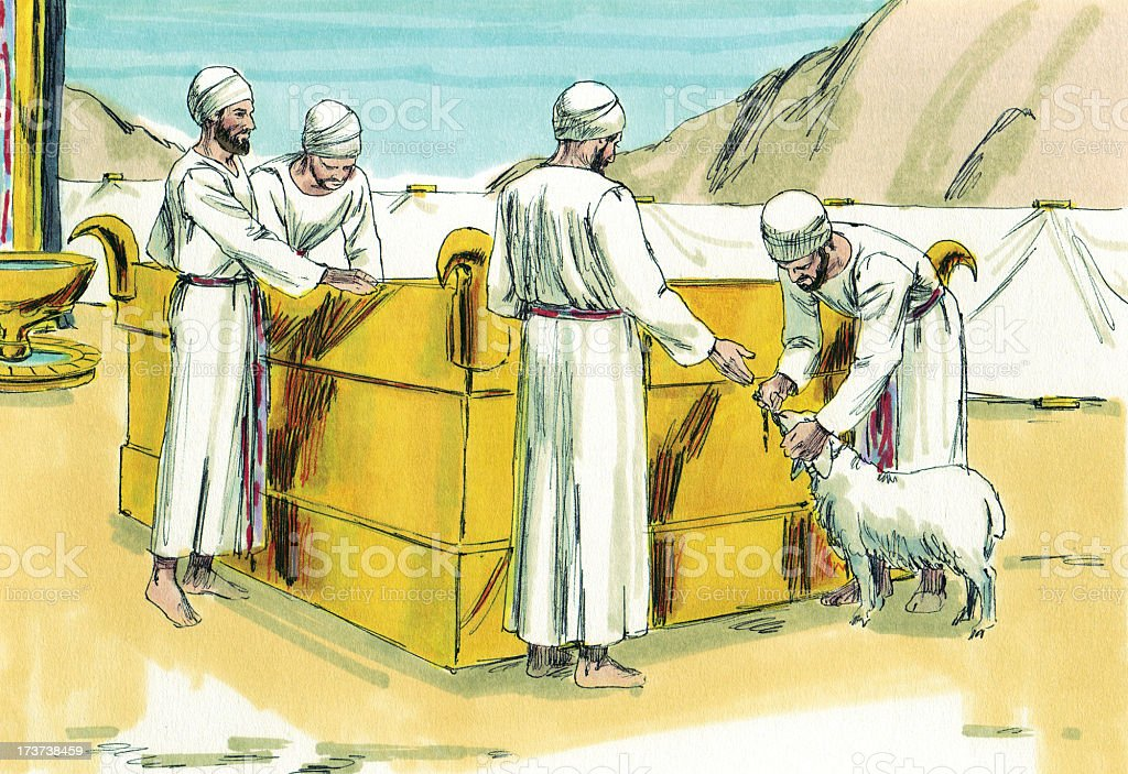 Moses--Priests and Sacrificial Lamb stock photo