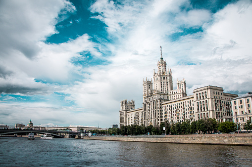 Moskva River And Kotelnicheskaya Embankment Building In Moscow, Russia
