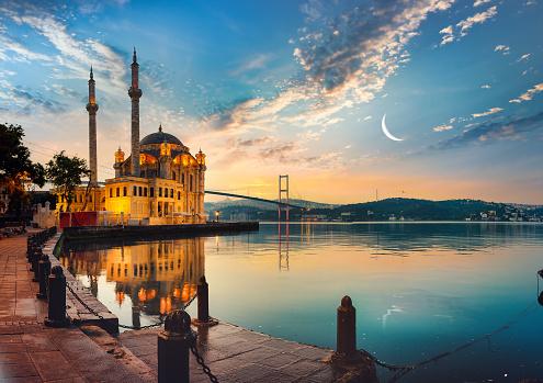 Ortakoy Mosque and Bosphorus bridge in Istanbul at sunrise, Turkey