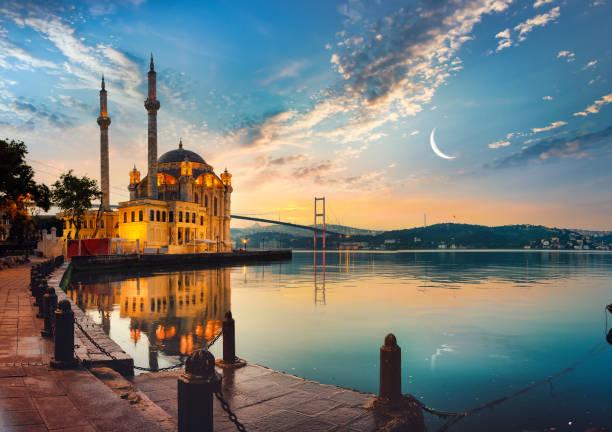 мечеть и босфорский мост - стамбул стоковые фото и изображения