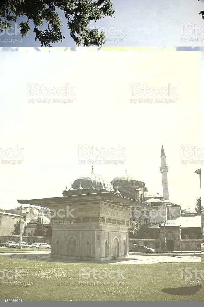 mosque and fountain in istanbul turkiye royalty-free stock photo