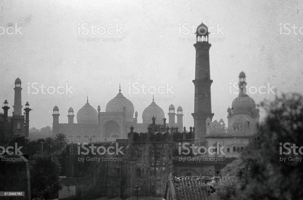 Mosque And Minarets In Wet Plate Collodion Style stock photo