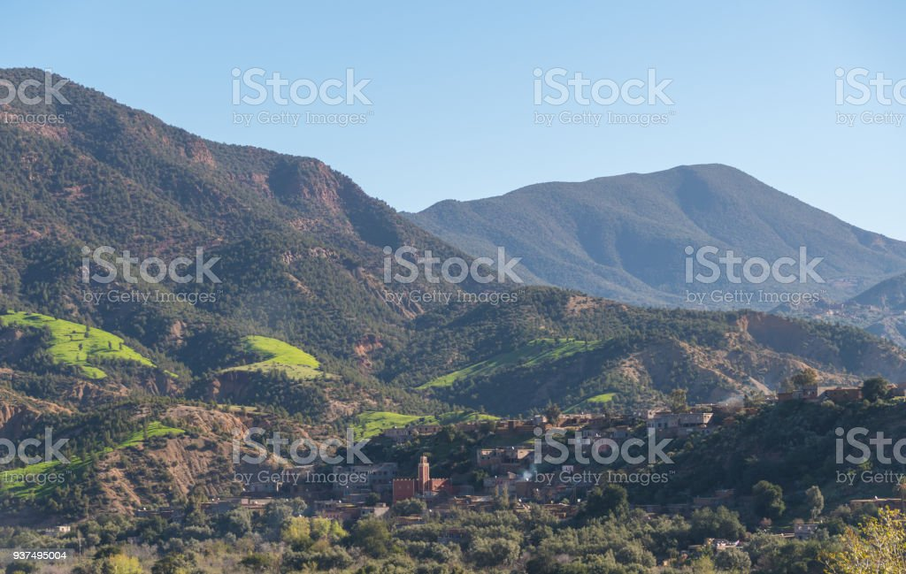 Mosque and village in the valleys of the High Atlas Mountains in Morocco stock photo