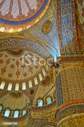 Beautiful arabic architecture inside the Blue Mosque, Istanbul