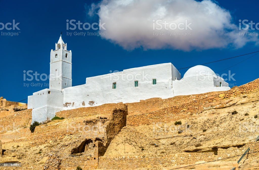 Mosque at Chenini, a a fortified Berber village in Southern Tunisia stock photo