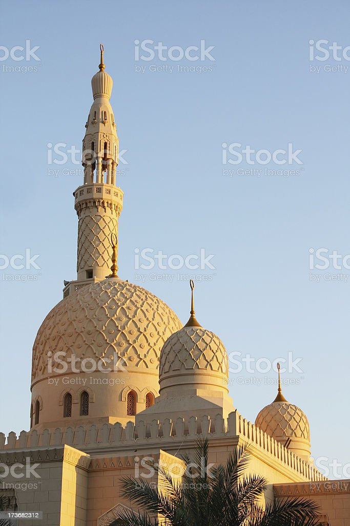 mosque at dusk stock photo