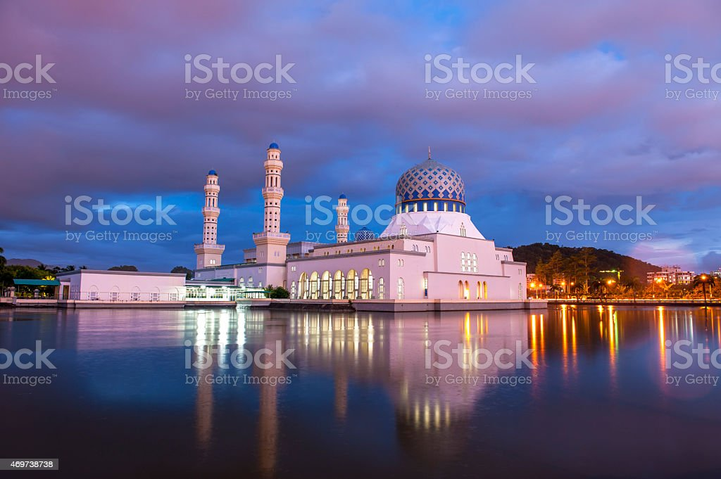 Mosque at sunset moment, Kota Kinabalu stock photo