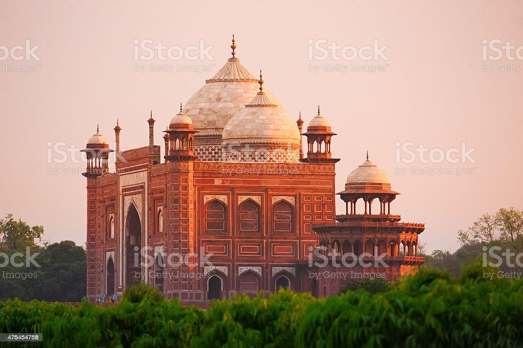 Mosque at Taj Mahal in Agra India stock photo