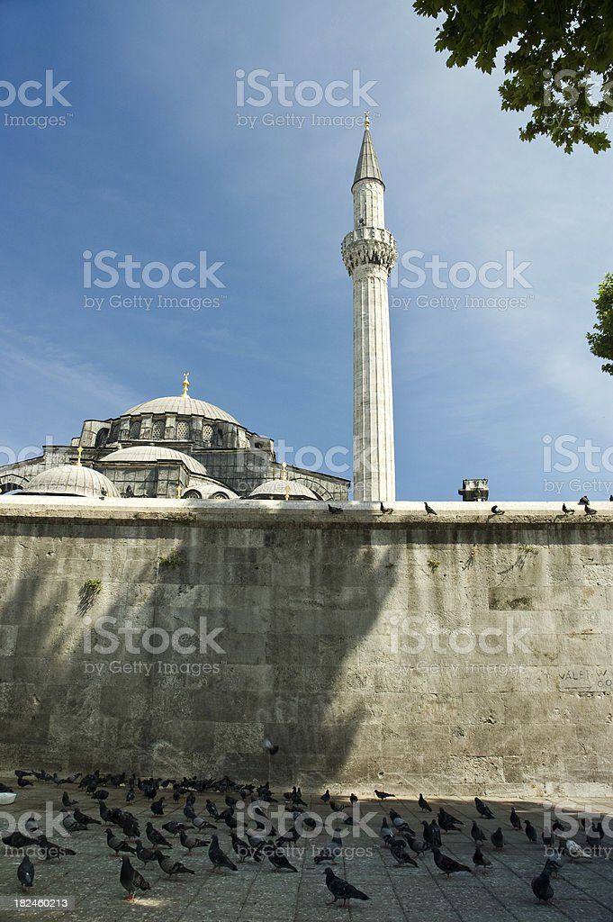 mosque behind the wall royalty-free stock photo