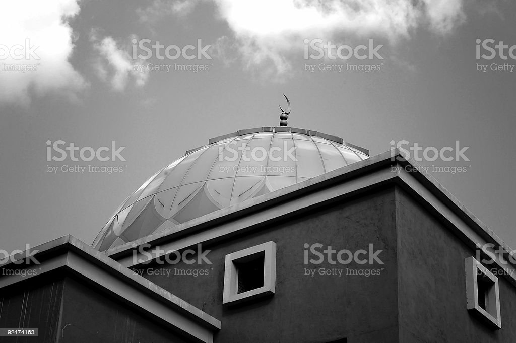 Mosque - black and white royalty-free stock photo