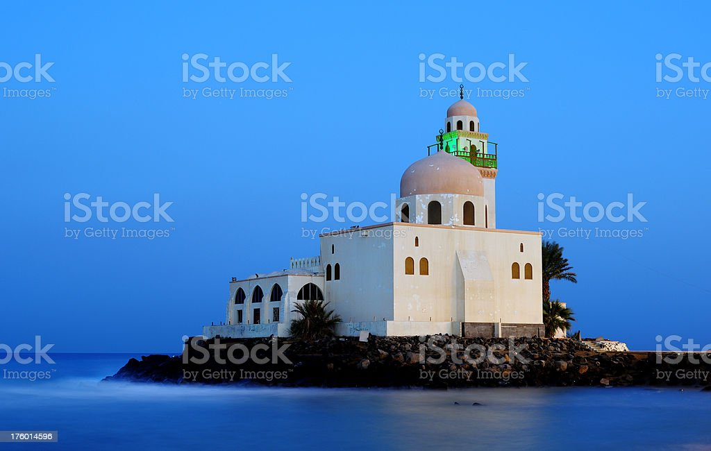 Mosque By Red Sea in Jeddah, Saudi Arabia stock photo