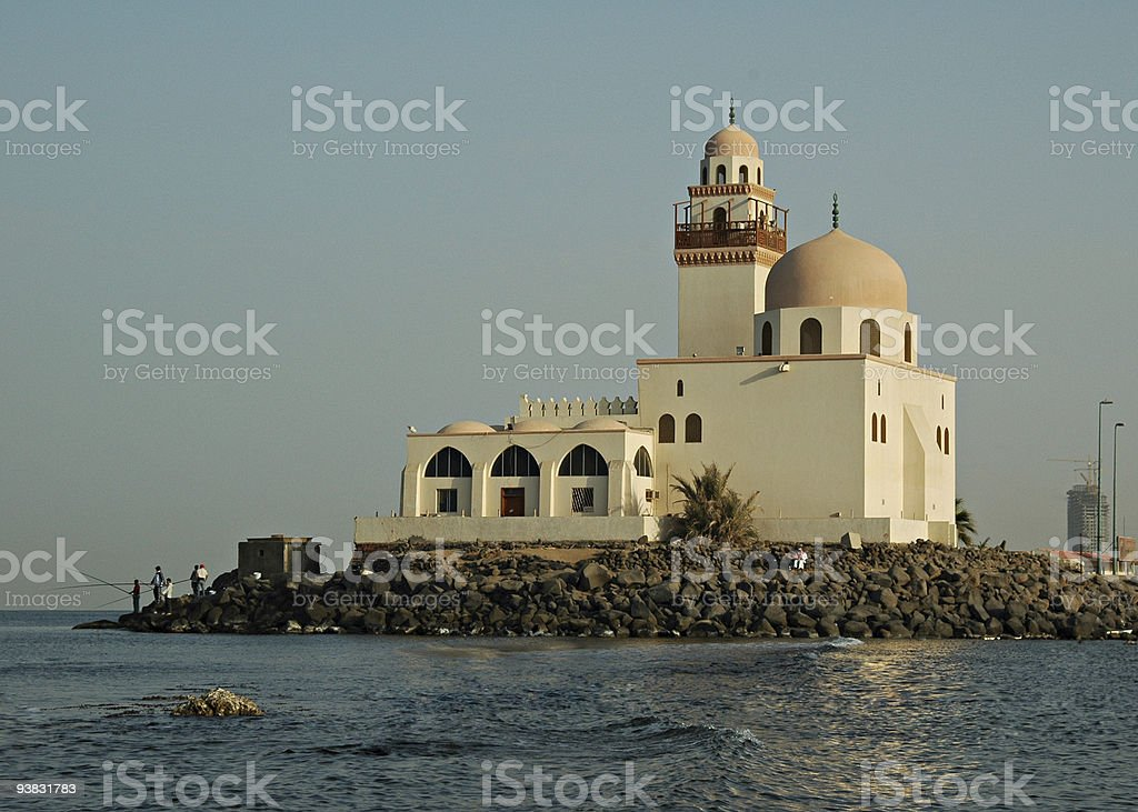 A mosque by the Red Sea in Jeddah Saudi Arabia royalty-free stock photo