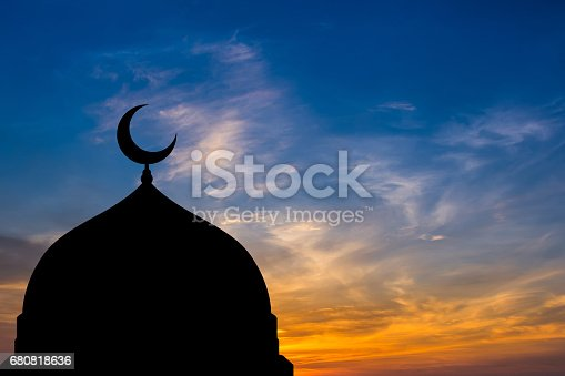 istock Mosque dome silhouette  in Twilight time 680818636