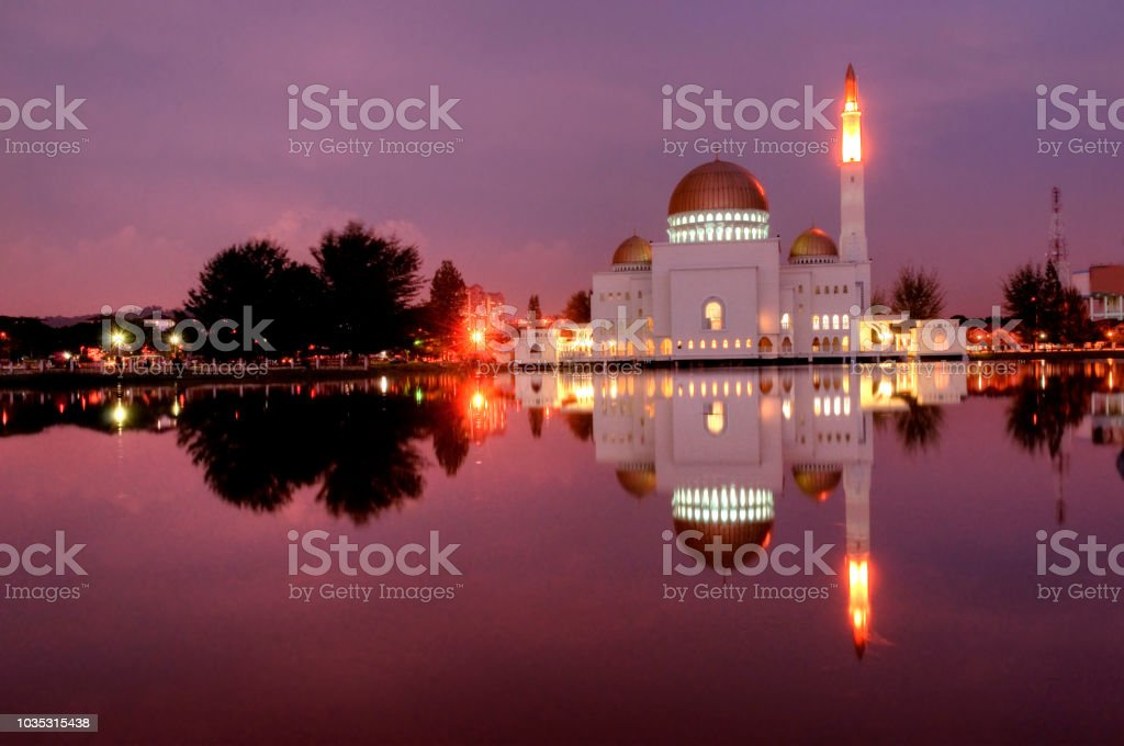 mosque during a beautiful sunset in malaysia stock photo