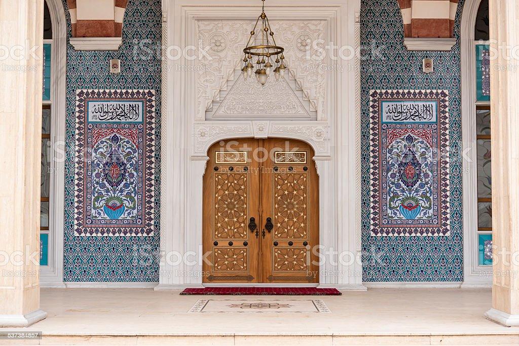 mosque entrance door stock photo