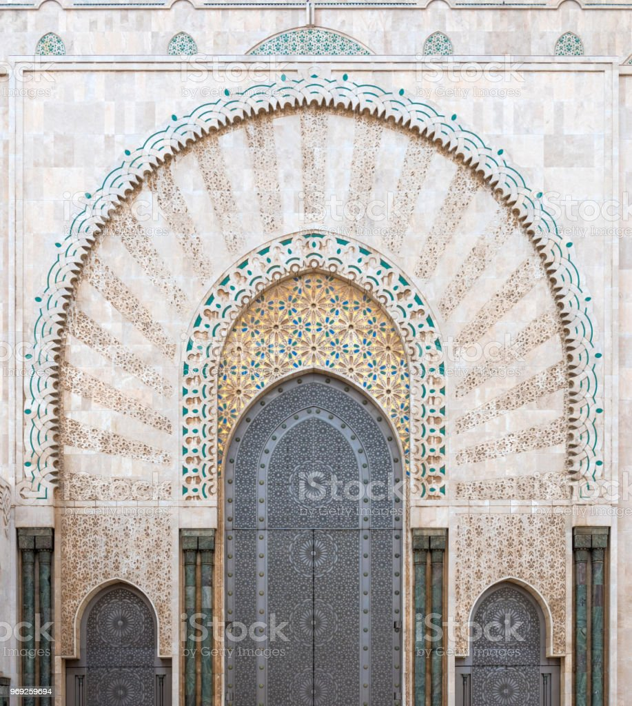 Mosque Hassan II doors stock photo