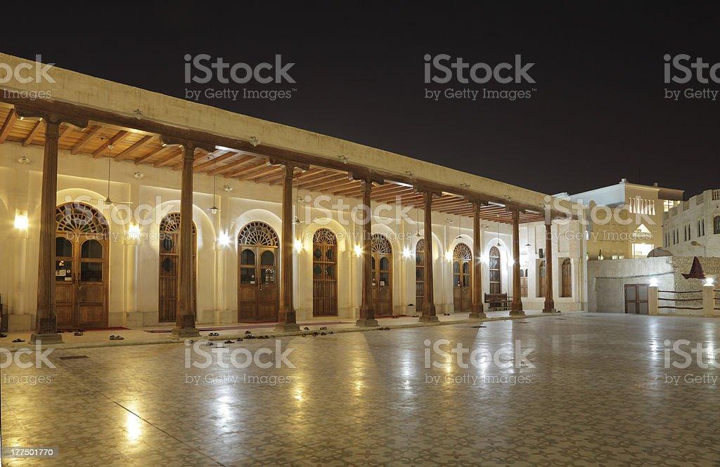 Mosque illuminated at night, Doha stock photo