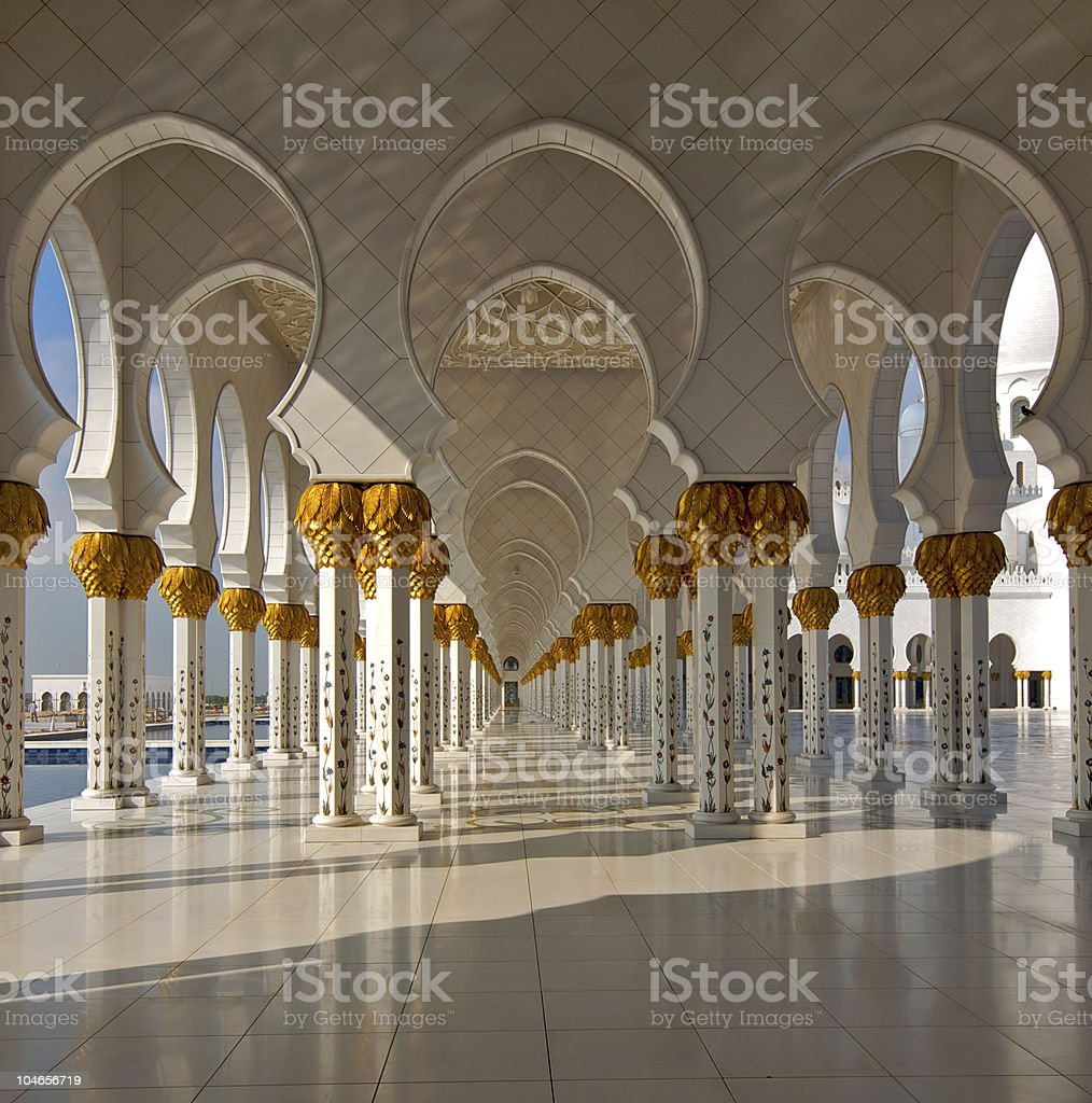 Mosque in Abu-Dhabi with white floors royalty-free stock photo
