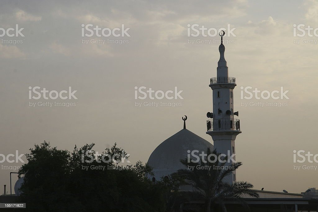 Mosque in light purple sunset royalty-free stock photo