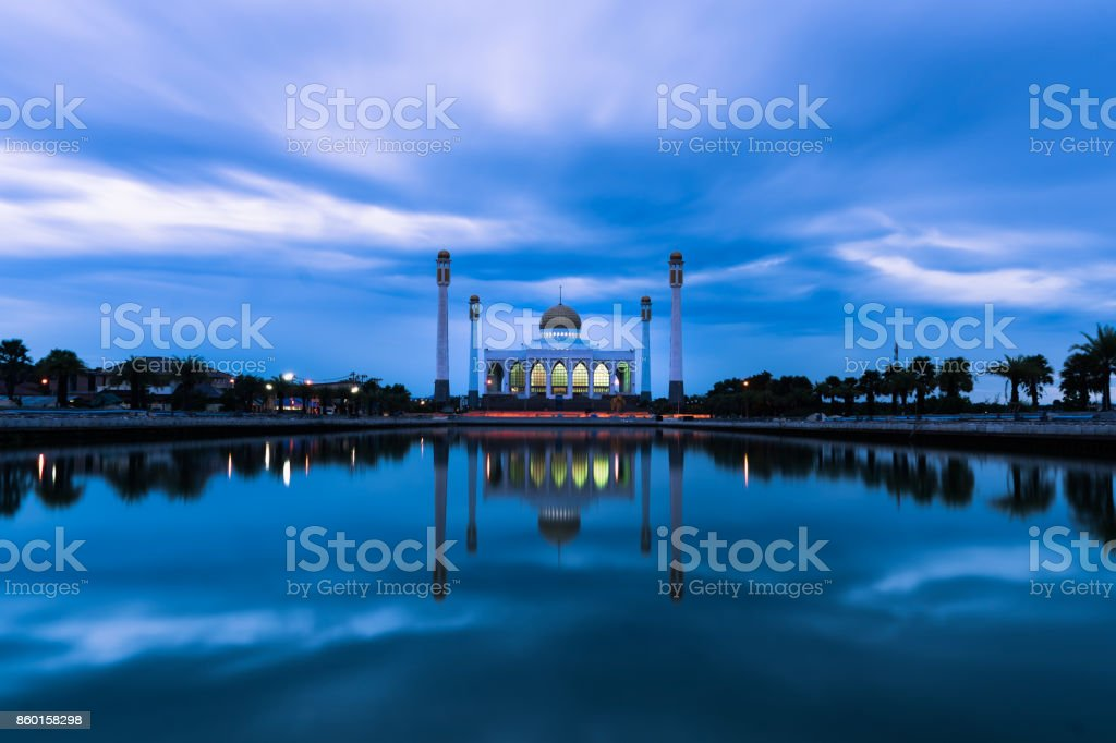Mosque in rainy day stock photo