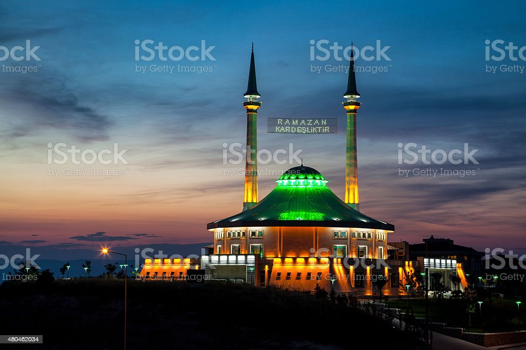 Mosque in Ramadan month with Mahya stock photo