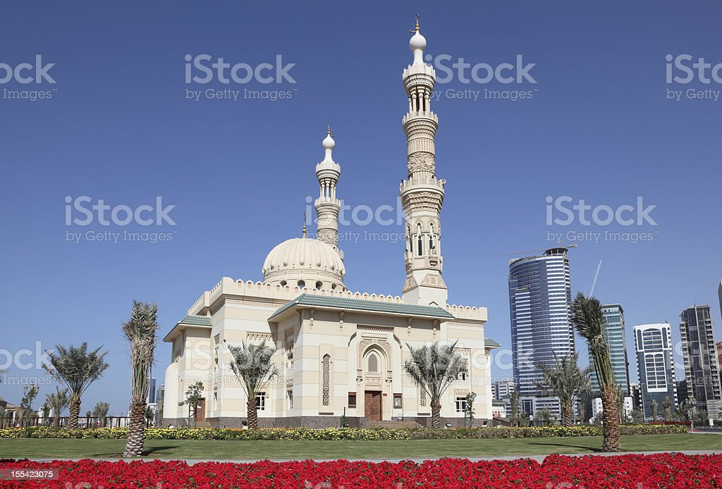 Mosque in Sharjah City stock photo