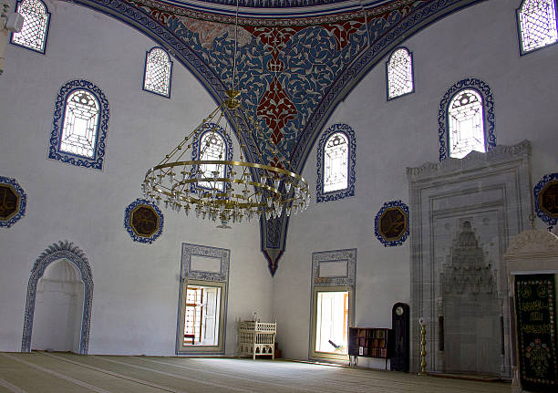 Mosque in Skopje Skopje, Macedonia - September 6, 2015: Interior of Mustafa Pasa Mosque - Old Town (Carsija) - Skopje - Macedonia. Mustafa Pasha Mosque is an Ottoman-era mosque located in the Old Bazaar of Skopje, Macedonia. The structure stands on a plateau above the old bazaar, built in 1492 by Mustafa Pasha, vizier on the court of Sultan Selim I. Amen stock pictures, royalty-free photos & images