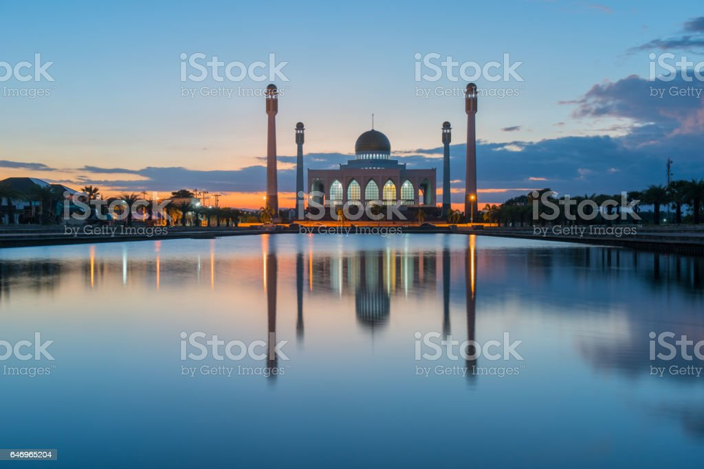 mosque in thailand during sunset stock photo
