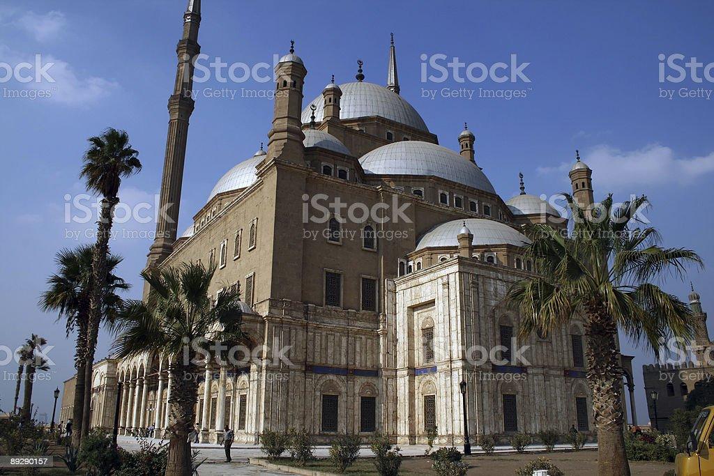 Mosque inside Cairo Citadel with blue sky stock photo