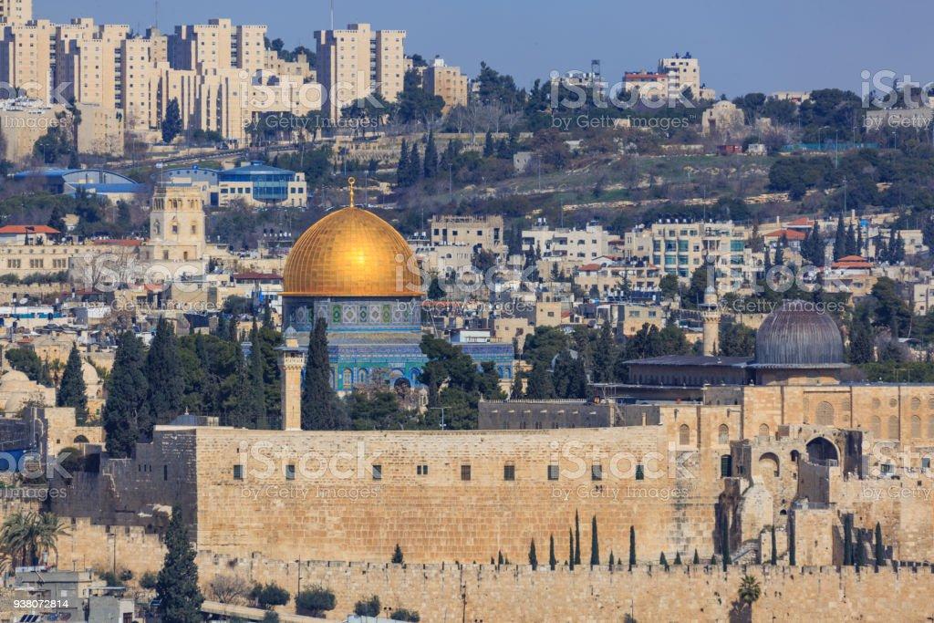 Mosque of Al-aqsa at far away stock photo