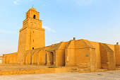 Mosque of Kairouan at Tunisia with blue sky background