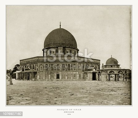 Antique Palestine Photograph: Mosque of Omar, Jerusalem, 1893. Source: Original edition from my own archives. Copyright has expired on this artwork. Digitally restored.
