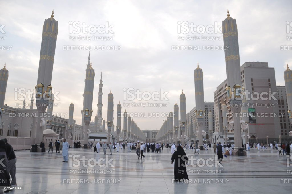 Mosque Of Prophet Mohammed In Medina Saudi Arabia February 12 2012 Stock  Photo - Download Image Now