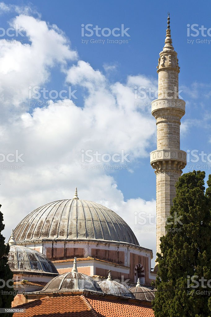 Mosque of Suleimaniye at Rhodes island, Greece stock photo