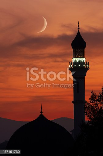 This is a photo of a beautiful mosque in sunset