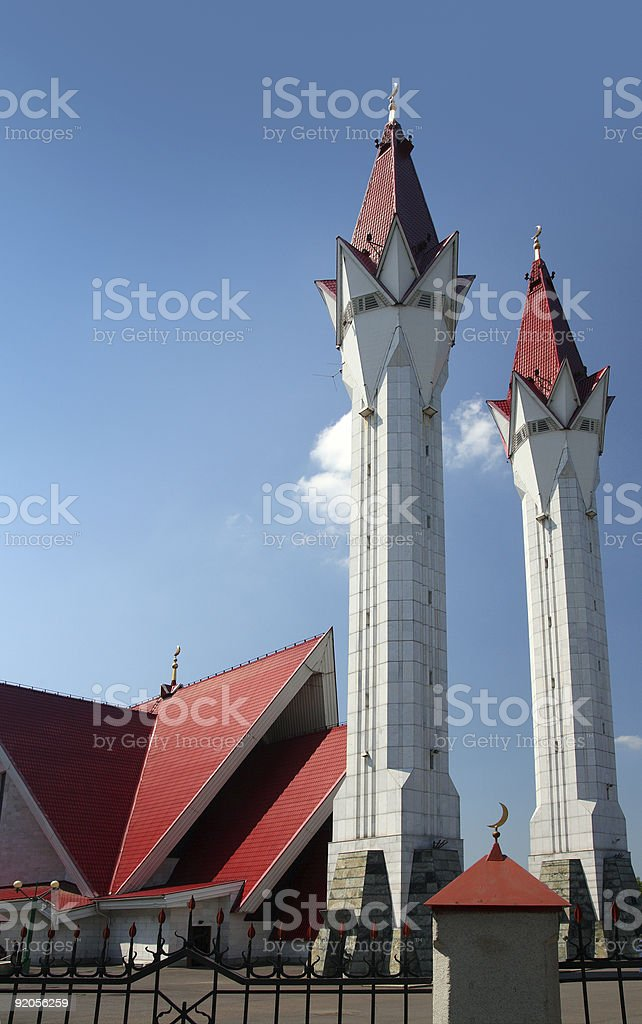 mosque with two minarets royalty-free stock photo