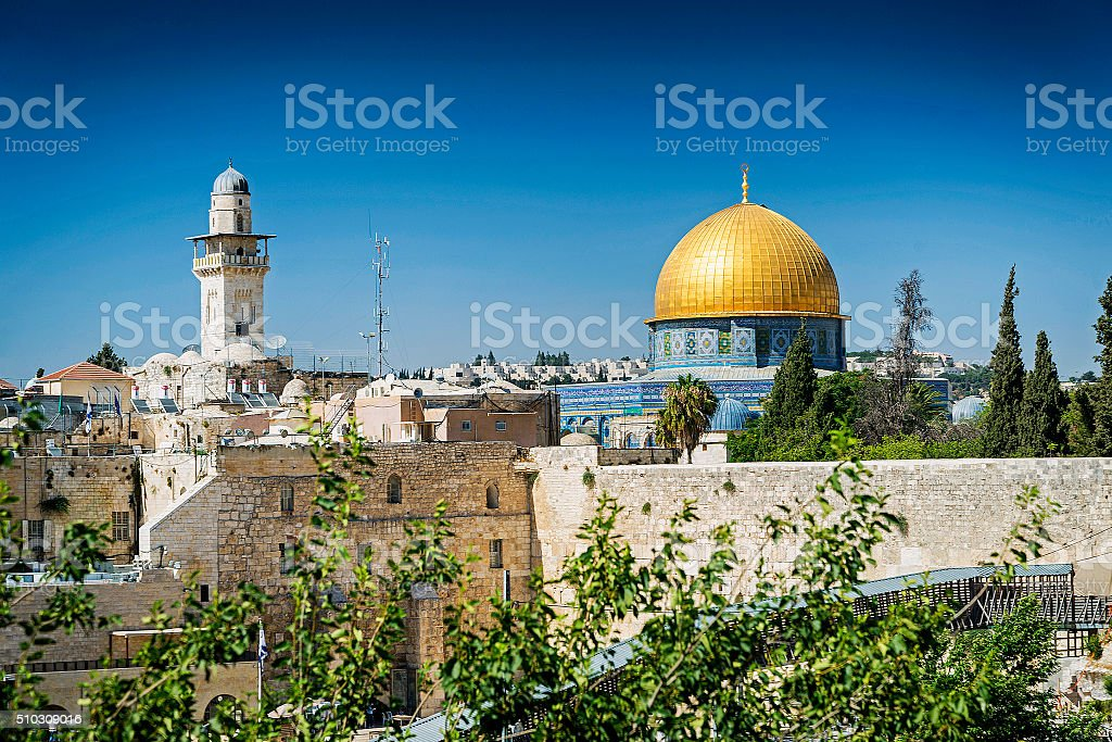 mosques in old town of jerusalem israel stock photo