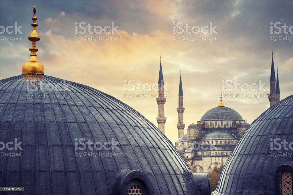 Mosques in Sultanahmet, Istanbul, Turkey stock photo