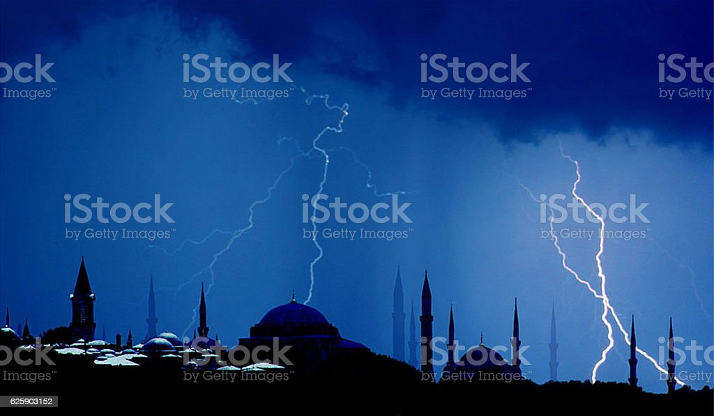 Mosques on a stormy night, Istanbul Turkey stock photo